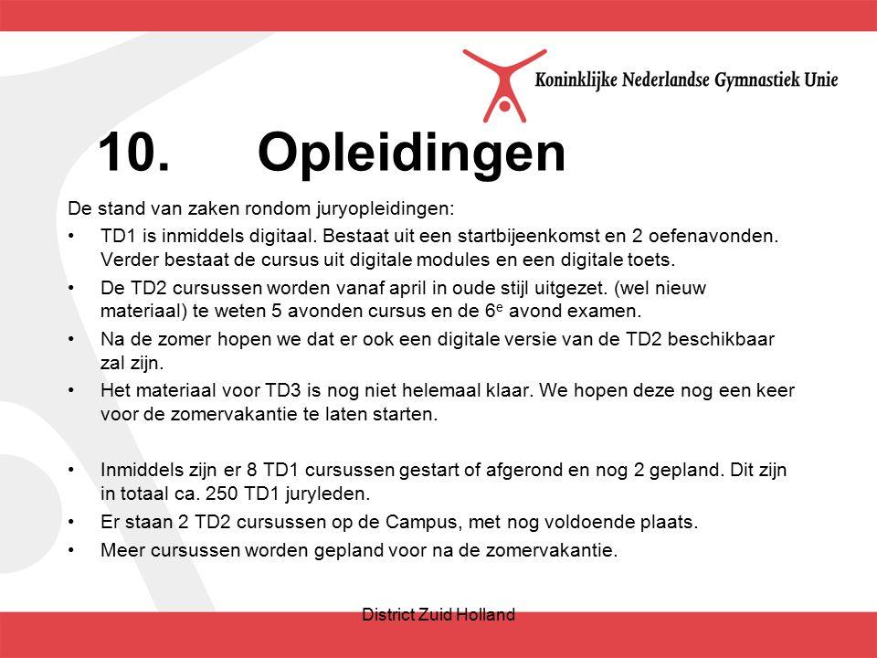 10.Opleidingen De stand van zaken rondom juryopleidingen: TD1 is inmiddels digitaal.