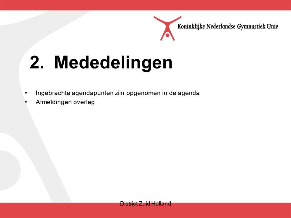 2.Mededelingen Ingebrachte agendapunten zijn opgenomen in de agenda Afmeldingen overleg District Zuid Holland