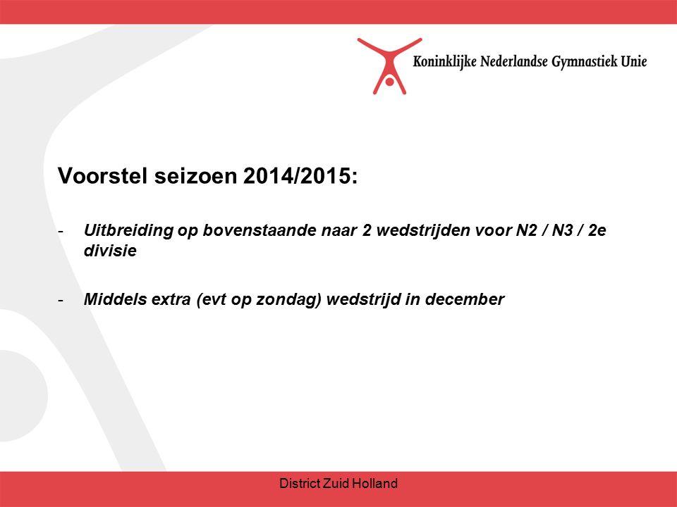 Voorstel seizoen 2014/2015: -Uitbreiding op bovenstaande naar 2 wedstrijden voor N2 / N3 / 2e divisie -Middels extra (evt op zondag) wedstrijd in december