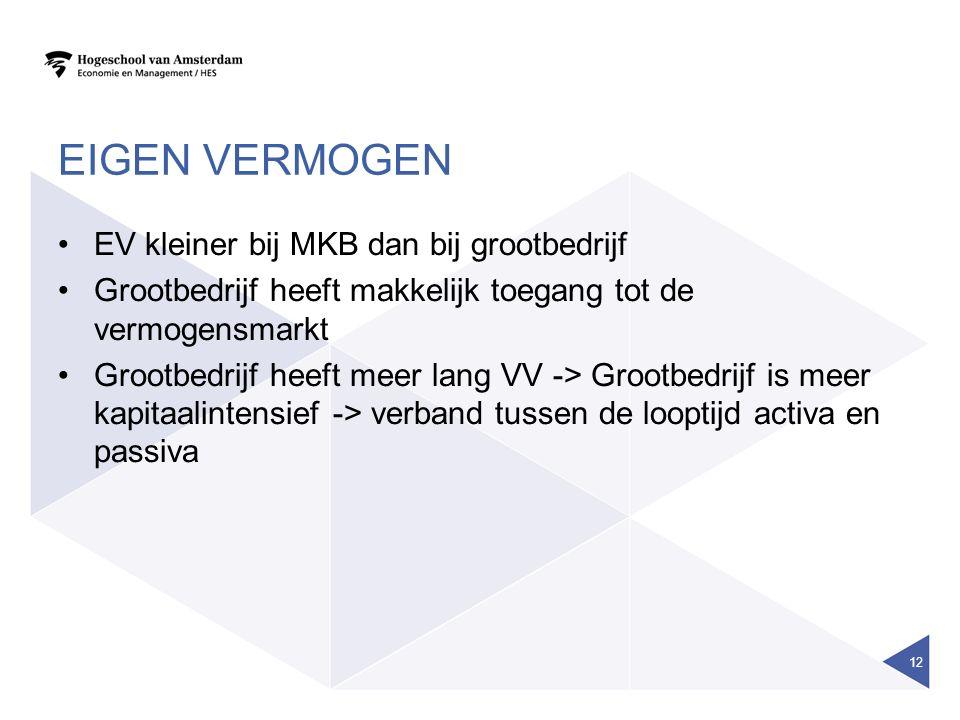 EIGEN VERMOGEN EV kleiner bij MKB dan bij grootbedrijf Grootbedrijf heeft makkelijk toegang tot de vermogensmarkt Grootbedrijf heeft meer lang VV -> G