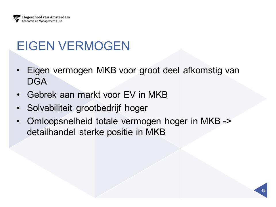 EIGEN VERMOGEN Eigen vermogen MKB voor groot deel afkomstig van DGA Gebrek aan markt voor EV in MKB Solvabiliteit grootbedrijf hoger Omloopsnelheid totale vermogen hoger in MKB -> detailhandel sterke positie in MKB 13