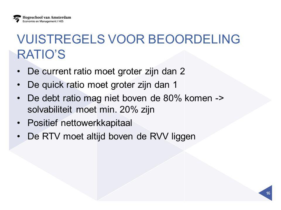 VUISTREGELS VOOR BEOORDELING RATIO'S De current ratio moet groter zijn dan 2 De quick ratio moet groter zijn dan 1 De debt ratio mag niet boven de 80% komen -> solvabiliteit moet min.