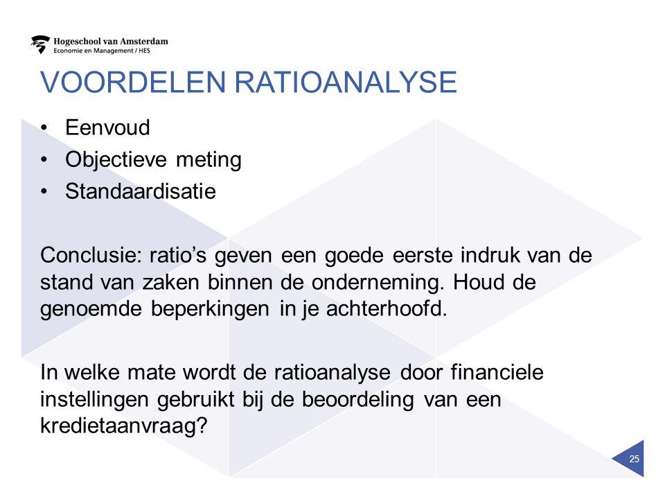 VOORDELEN RATIOANALYSE Eenvoud Objectieve meting Standaardisatie Conclusie: ratio's geven een goede eerste indruk van de stand van zaken binnen de onderneming.