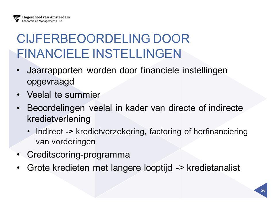 CIJFERBEOORDELING DOOR FINANCIELE INSTELLINGEN Jaarrapporten worden door financiele instellingen opgevraagd Veelal te summier Beoordelingen veelal in