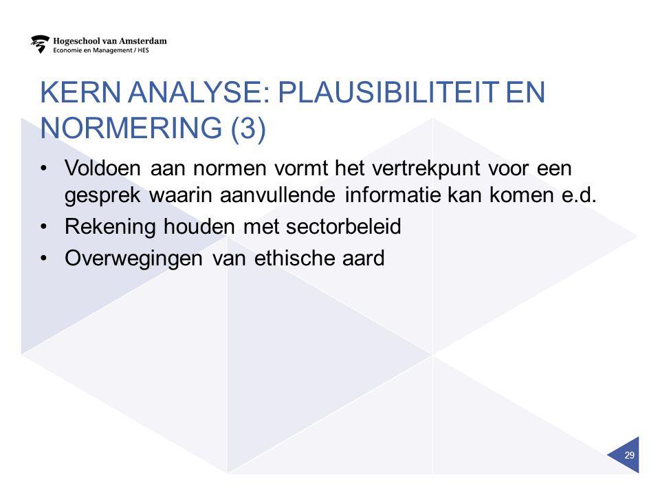KERN ANALYSE: PLAUSIBILITEIT EN NORMERING (3) Voldoen aan normen vormt het vertrekpunt voor een gesprek waarin aanvullende informatie kan komen e.d.