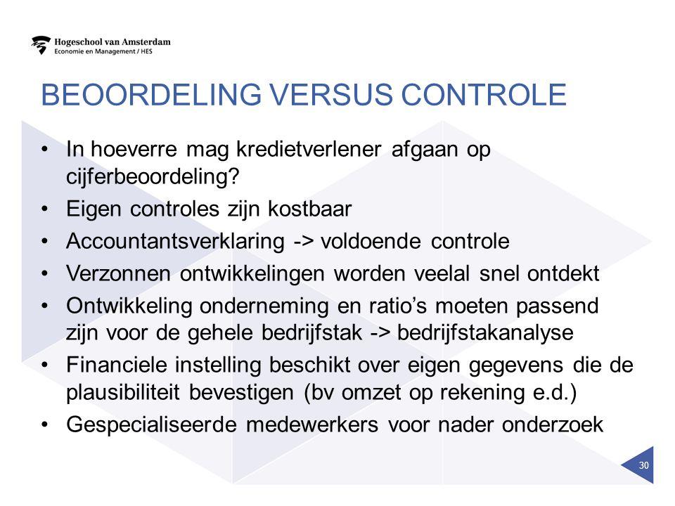 BEOORDELING VERSUS CONTROLE In hoeverre mag kredietverlener afgaan op cijferbeoordeling? Eigen controles zijn kostbaar Accountantsverklaring -> voldoe