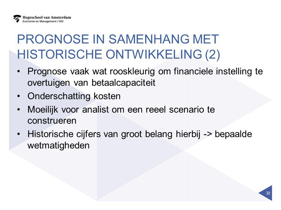 PROGNOSE IN SAMENHANG MET HISTORISCHE ONTWIKKELING (2) Prognose vaak wat rooskleurig om financiele instelling te overtuigen van betaalcapaciteit Onder