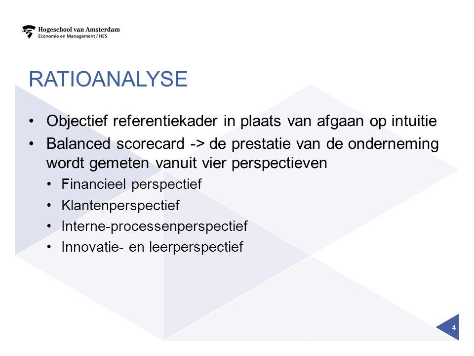 RATIOANALYSE Objectief referentiekader in plaats van afgaan op intuitie Balanced scorecard -> de prestatie van de onderneming wordt gemeten vanuit vier perspectieven Financieel perspectief Klantenperspectief Interne-processenperspectief Innovatie- en leerperspectief 4