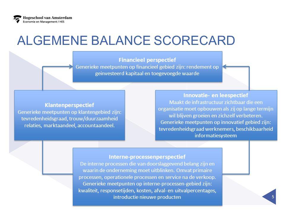 ALGEMENE BALANCE SCORECARD 5 Financieel perspectief Generieke meetpunten op financieel gebied zijn: rendement op geinvesteerd kapitaal en toegevoegde waarde Financieel perspectief Generieke meetpunten op financieel gebied zijn: rendement op geinvesteerd kapitaal en toegevoegde waarde Innovatie- en leespectief Maakt de infrastructuur zichtbaar die een organisatie moet opbouwen als zij op lange termijn wil blijven groeien en zichzelf verbeteren.