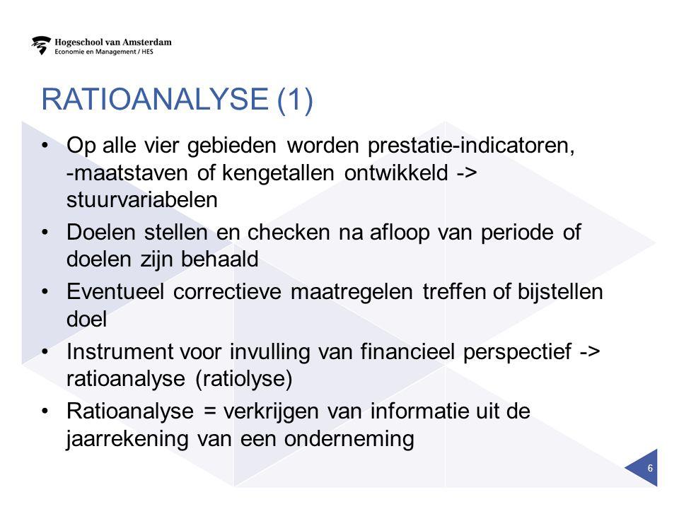 RATIOANALYSE (1) Op alle vier gebieden worden prestatie-indicatoren, -maatstaven of kengetallen ontwikkeld -> stuurvariabelen Doelen stellen en checke