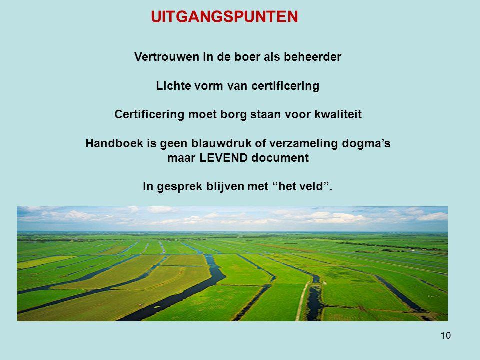 10 Vertrouwen in de boer als beheerder Lichte vorm van certificering Certificering moet borg staan voor kwaliteit Handboek is geen blauwdruk of verzameling dogma's maar LEVEND document In gesprek blijven met het veld .