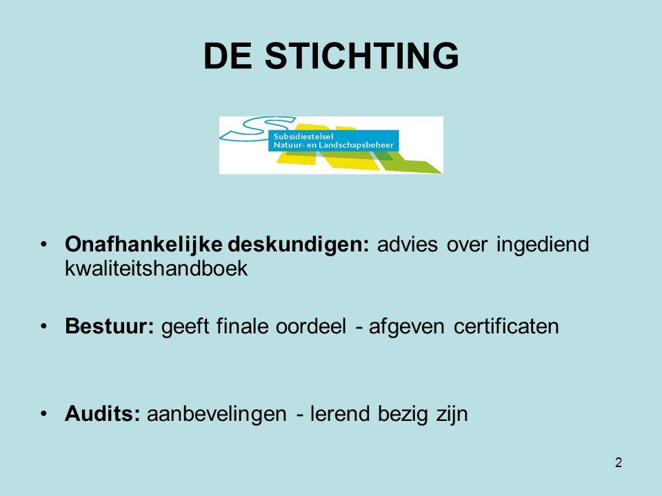 2 DE STICHTING Onafhankelijke deskundigen: advies over ingediend kwaliteitshandboek Bestuur: geeft finale oordeel - afgeven certificaten Audits: aanbevelingen - lerend bezig zijn