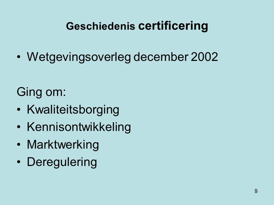 Geschiedenis certificering Wetgevingsoverleg december 2002 Ging om: Kwaliteitsborging Kennisontwikkeling Marktwerking Deregulering 9