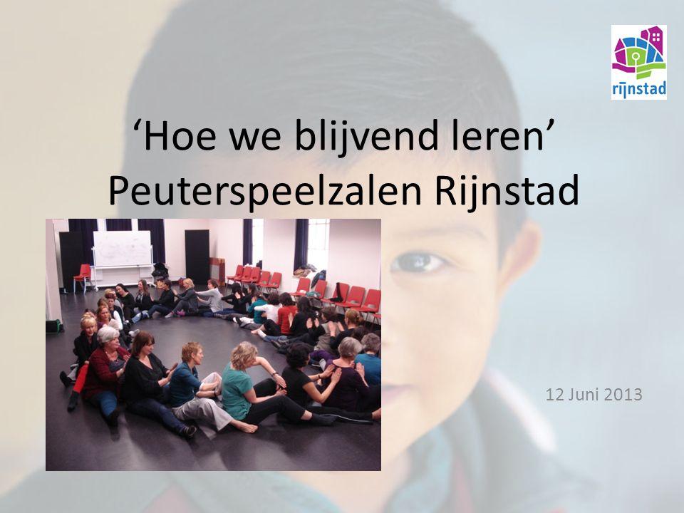 'Hoe we blijvend leren' Peuterspeelzalen Rijnstad 12 Juni 2013