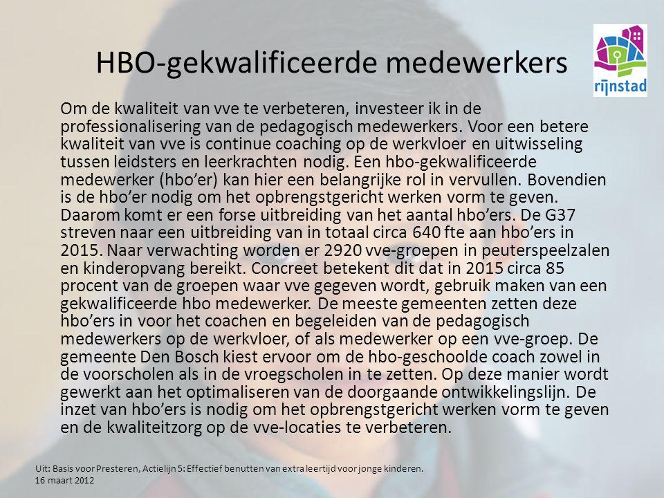 HBO-gekwalificeerde medewerkers Om de kwaliteit van vve te verbeteren, investeer ik in de professionalisering van de pedagogisch medewerkers.