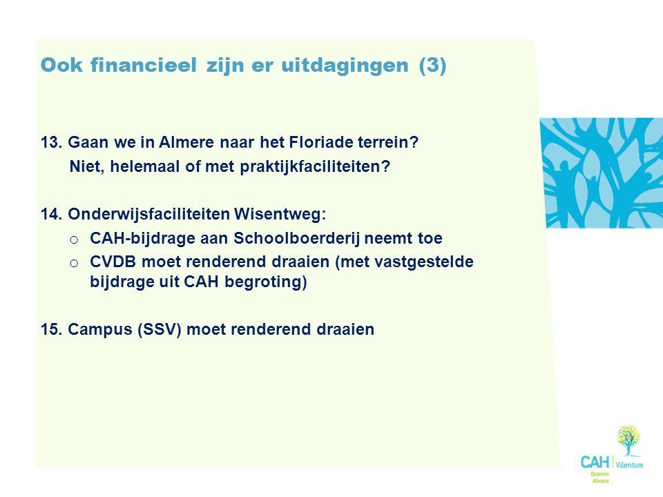 Ook financieel zijn er uitdagingen (3) 13.Gaan we in Almere naar het Floriade terrein.