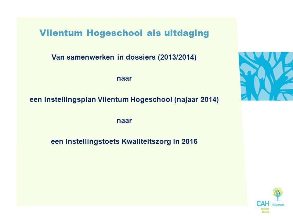 Vilentum Hogeschool als uitdaging Van samenwerken in dossiers (2013/2014) naar een Instellingsplan Vilentum Hogeschool (najaar 2014) naar een Instellingstoets Kwaliteitszorg in 2016