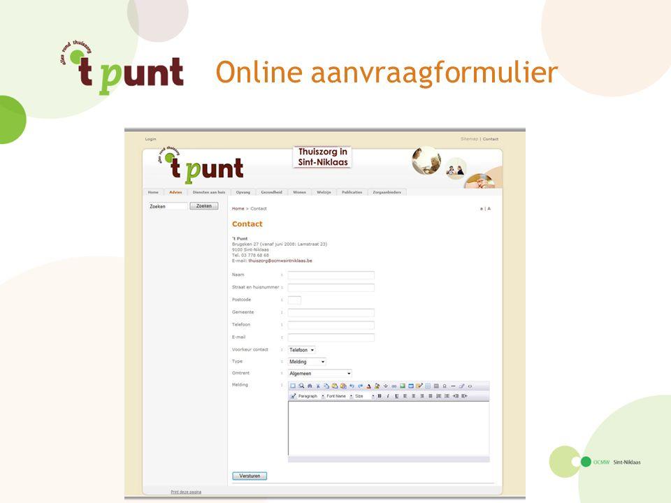 Online aanvraagformulier