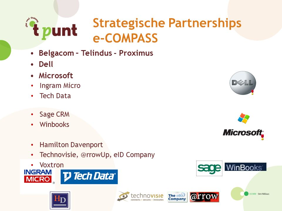 Strategische Partnerships e-COMPASS Belgacom – Telindus - Proximus Dell Microsoft Ingram Micro Tech Data Sage CRM Winbooks Hamilton Davenport Technovi
