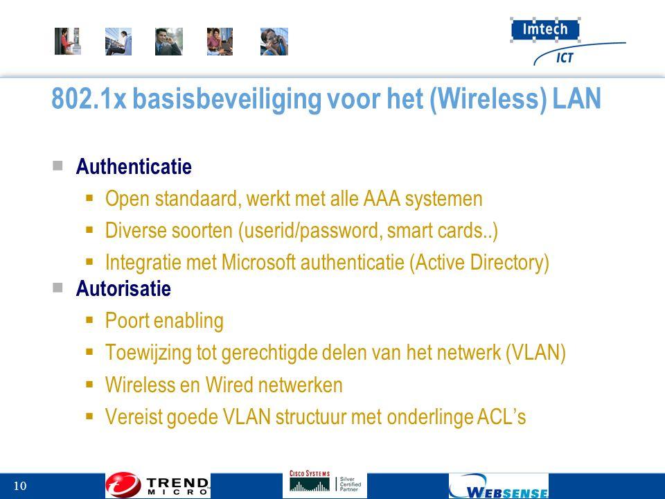 10 802.1x basisbeveiliging voor het (Wireless) LAN ■ Authenticatie  Open standaard, werkt met alle AAA systemen  Diverse soorten (userid/password, smart cards..)  Integratie met Microsoft authenticatie (Active Directory) ■ Autorisatie  Poort enabling  Toewijzing tot gerechtigde delen van het netwerk (VLAN)  Wireless en Wired netwerken  Vereist goede VLAN structuur met onderlinge ACL's