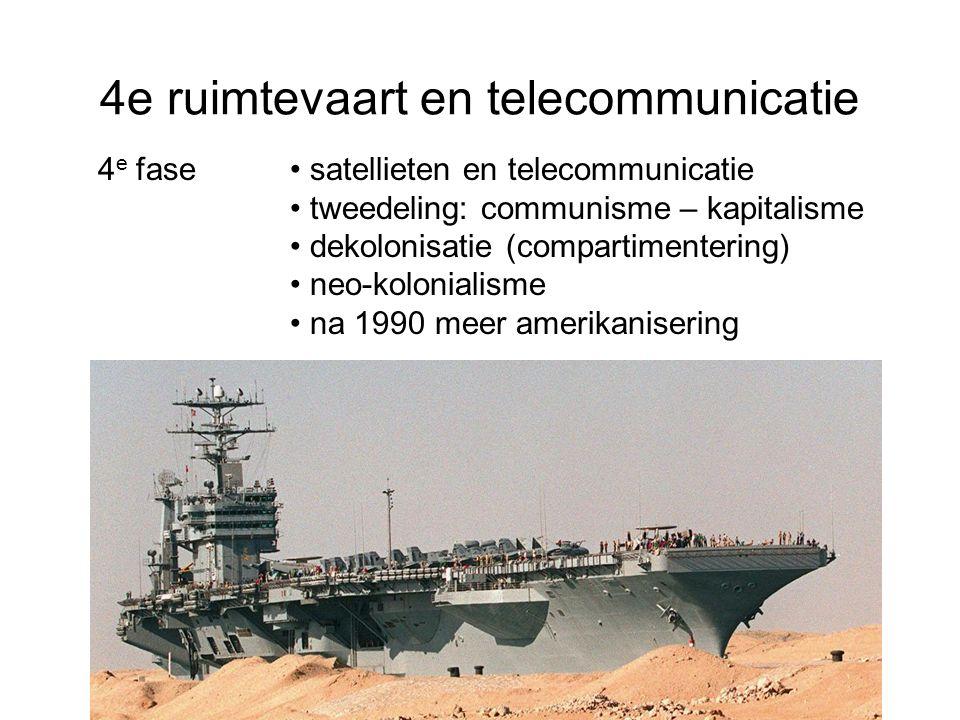 4e ruimtevaart en telecommunicatie 4 e fase satellieten en telecommunicatie tweedeling: communisme – kapitalisme dekolonisatie (compartimentering) neo-kolonialisme na 1990 meer amerikanisering