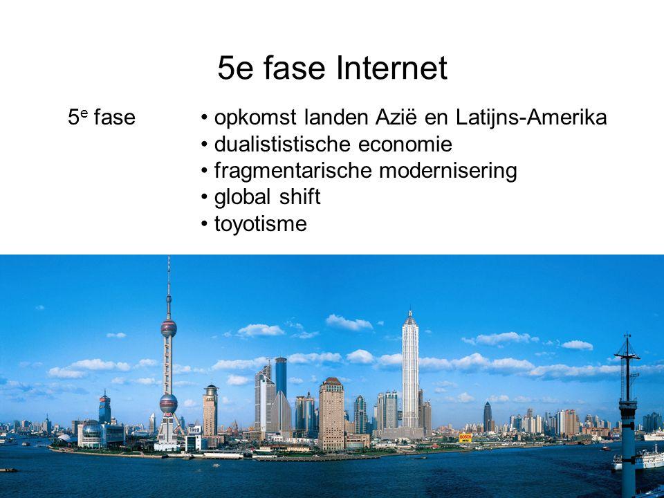 5e fase Internet 5 e fase opkomst landen Azië en Latijns-Amerika dualististische economie fragmentarische modernisering global shift toyotisme