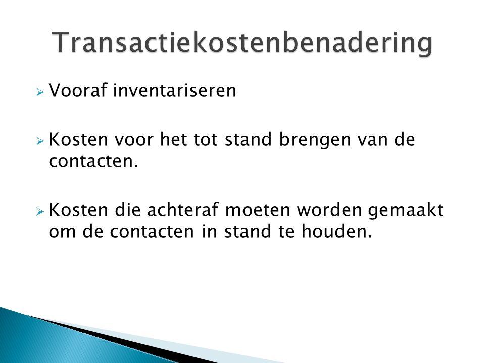  Vooraf inventariseren  Kosten voor het tot stand brengen van de contacten.