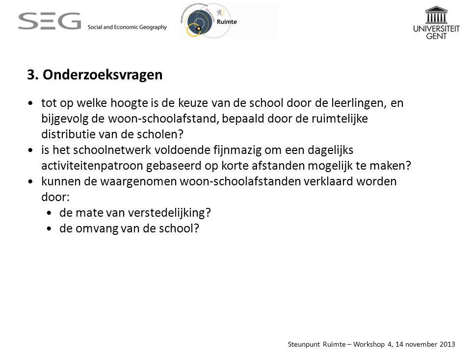Steunpunt Ruimte – Workshop 4, 14 november 2013 waargenomen woon-schoolafstand per leerling, regio Rupel
