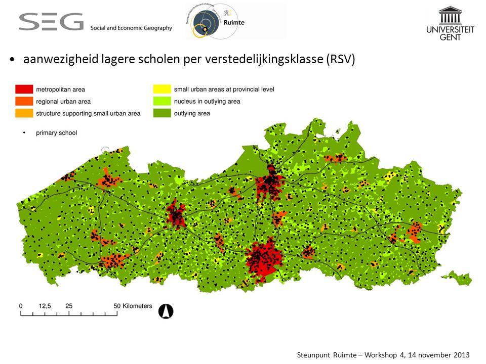 Steunpunt Ruimte – Workshop 4, 14 november 2013 aanwezigheid lagere scholen per verstedelijkingsklasse (RSV)