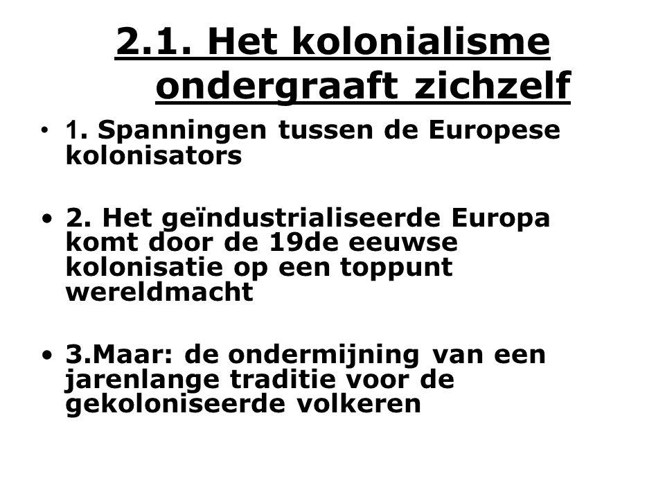 2.1. Het kolonialisme ondergraaft zichzelf 1. Spanningen tussen de Europese kolonisators 2.