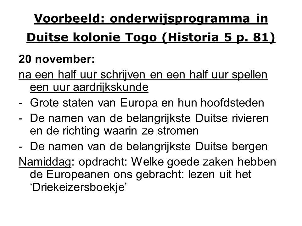 Voorbeeld: onderwijsprogramma in Duitse kolonie Togo (Historia 5 p.