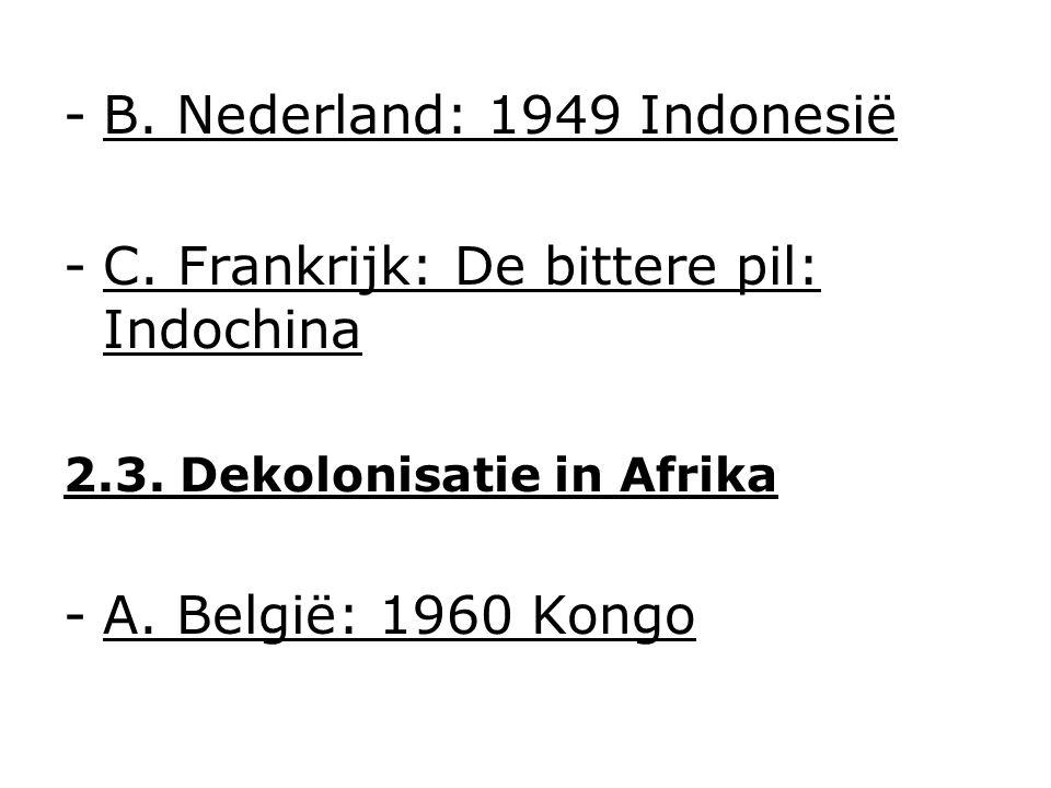 -B. Nederland: 1949 Indonesië -C. Frankrijk: De bittere pil: Indochina 2.3.