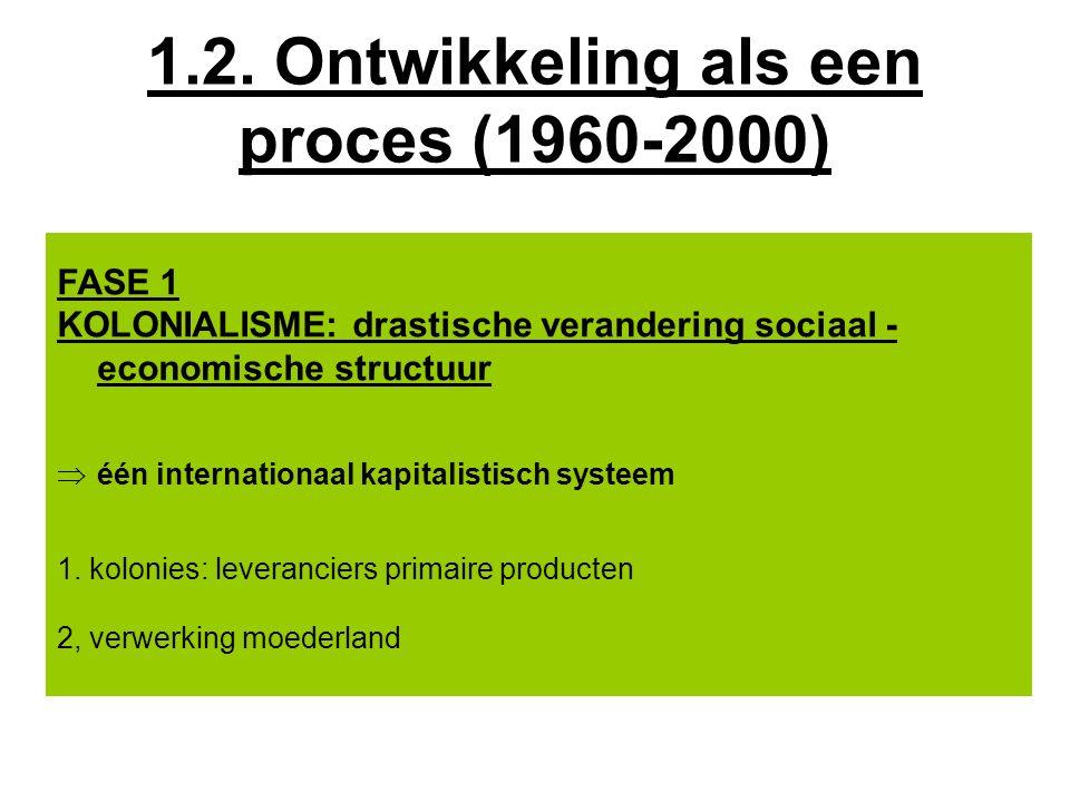 FASE 1 KOLONIALISME: drastische verandering sociaal - economische structuur  één internationaal kapitalistisch systeem 1.