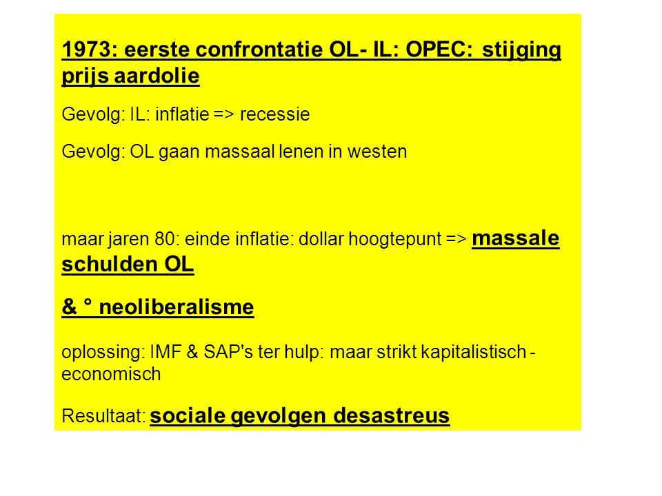 1973: eerste confrontatie OL- IL: OPEC: stijging prijs aardolie Gevolg: IL: inflatie => recessie Gevolg: OL gaan massaal lenen in westen maar jaren 80: einde inflatie: dollar hoogtepunt => massale schulden OL & ° neoliberalisme oplossing: IMF & SAP s ter hulp: maar strikt kapitalistisch - economisch Resultaat: sociale gevolgen desastreus