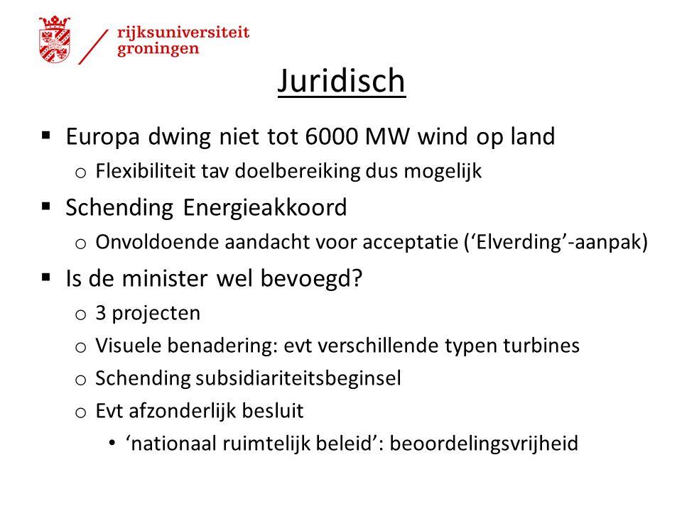 Juridisch  Europa dwing niet tot 6000 MW wind op land o Flexibiliteit tav doelbereiking dus mogelijk  Schending Energieakkoord o Onvoldoende aandacht voor acceptatie ('Elverding'-aanpak)  Is de minister wel bevoegd.