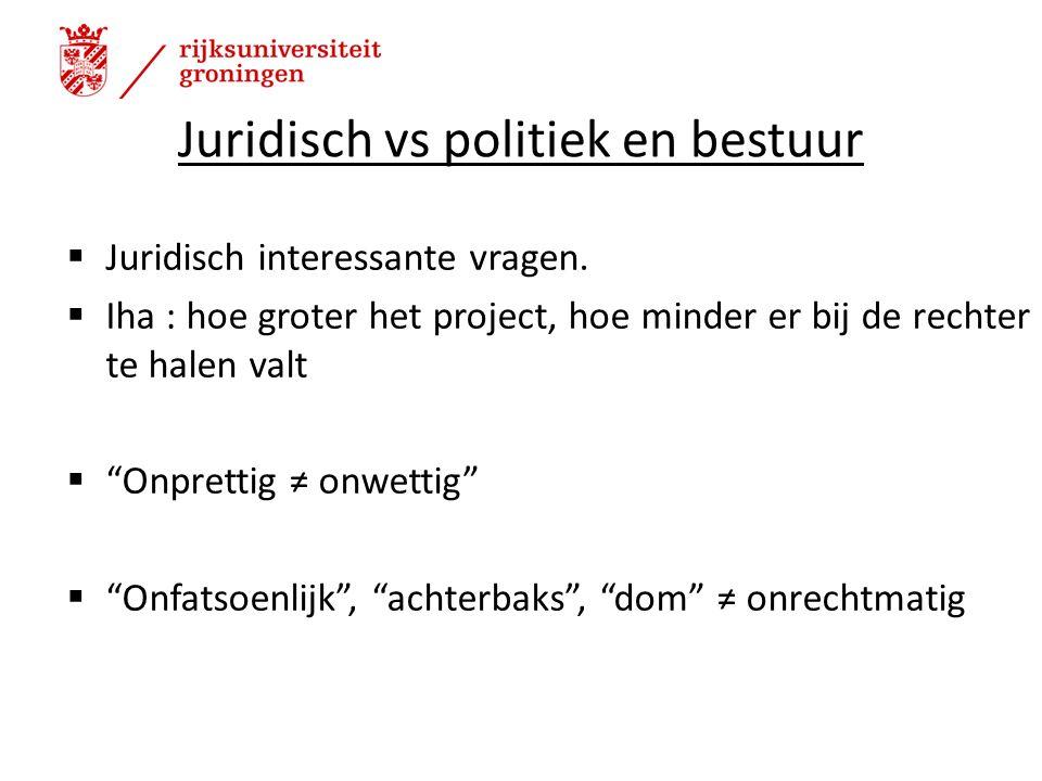 Juridisch vs politiek en bestuur  Juridisch interessante vragen.
