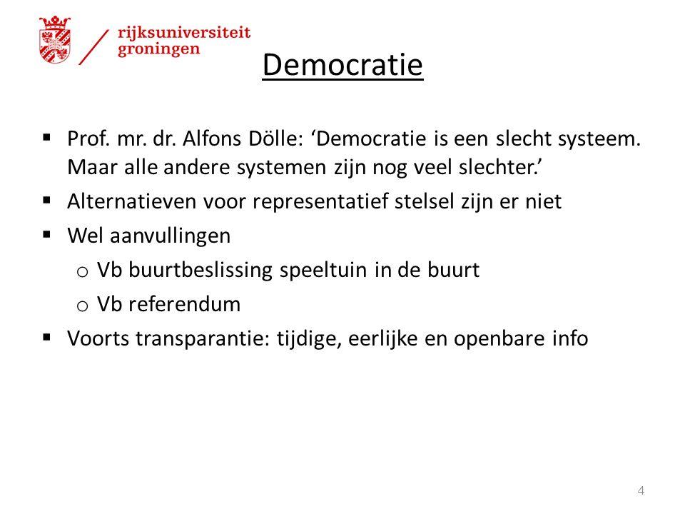  Prof. mr. dr. Alfons Dölle: 'Democratie is een slecht systeem.