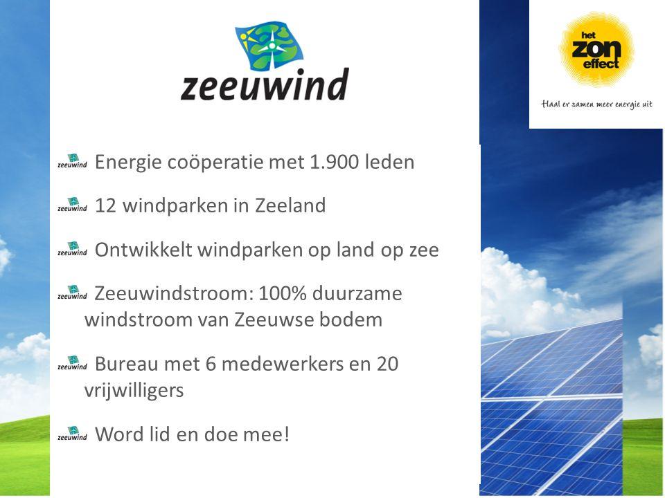 Energie coöperatie met 1.900 leden 12 windparken in Zeeland Ontwikkelt windparken op land op zee Zeeuwindstroom: 100% duurzame windstroom van Zeeuwse bodem Bureau met 6 medewerkers en 20 vrijwilligers Word lid en doe mee!