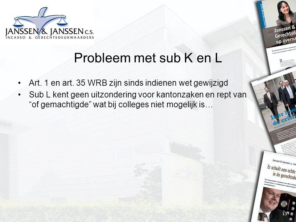 """13 Probleem met sub K en L Art. 1 en art. 35 WRB zijn sinds indienen wet gewijzigd Sub L kent geen uitzondering voor kantonzaken en rept van """"of gemac"""