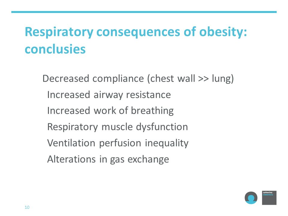 Respiratory consequences of obesity: conclusies Decreased compliance (chest wall >> lung) Increased airway resistance Increased work of breathing Resp