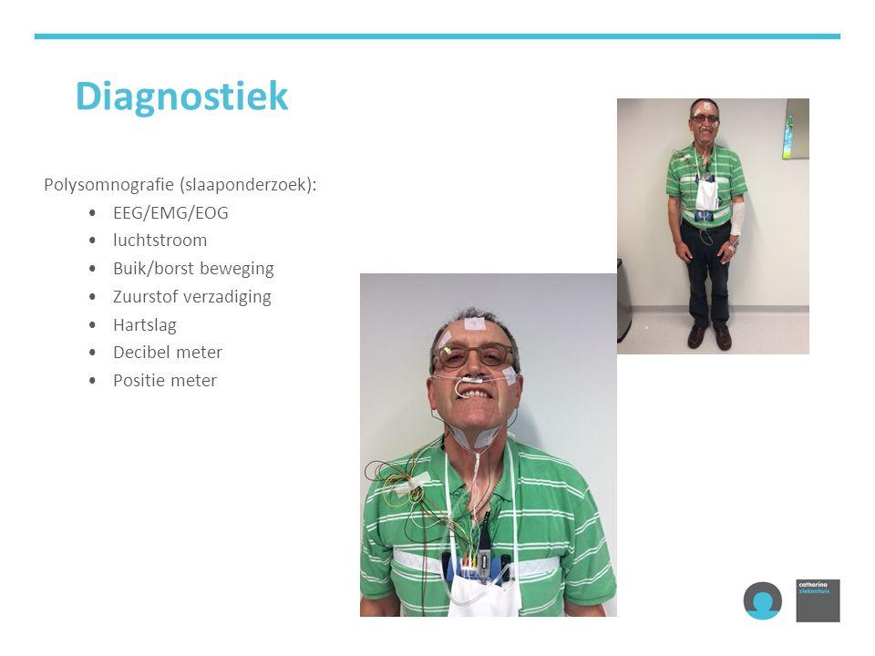 Diagnostiek Polysomnografie (slaaponderzoek): EEG/EMG/EOG luchtstroom Buik/borst beweging Zuurstof verzadiging Hartslag Decibel meter Positie meter