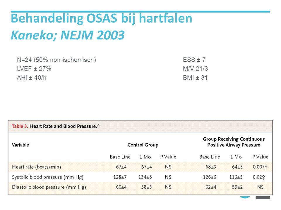 Behandeling OSAS bij hartfalen Kaneko; NEJM 2003 N=24 (50% non-ischemisch) LVEF ± 27% AHI ± 40/h ESS ± 7 M/V 21/3 BMI ± 31