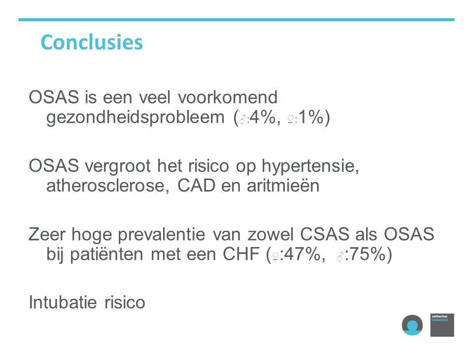 Conclusies OSAS is een veel voorkomend gezondheidsprobleem ( ♂: 4%, ♀: 1%) OSAS vergroot het risico op hypertensie, atherosclerose, CAD en aritmieën Zeer hoge prevalentie van zowel CSAS als OSAS bij patiënten met een CHF ( ♀ :47%, ♂ :75%) Intubatie risico