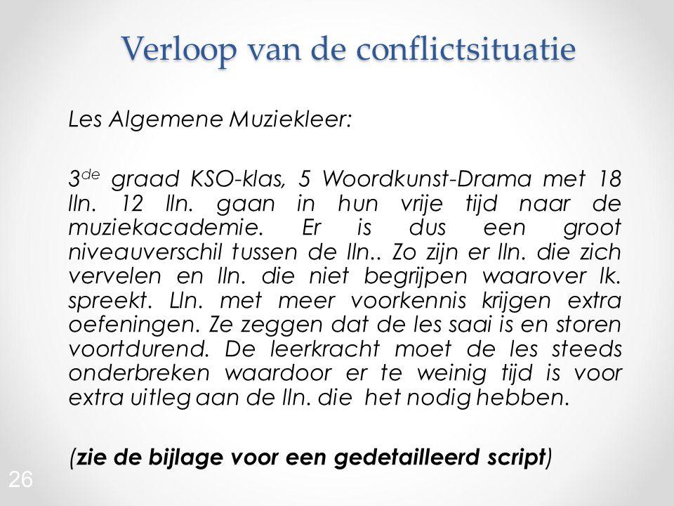Verloop van de conflictsituatie Les Algemene Muziekleer: 3 de graad KSO-klas, 5 Woordkunst-Drama met 18 lln.