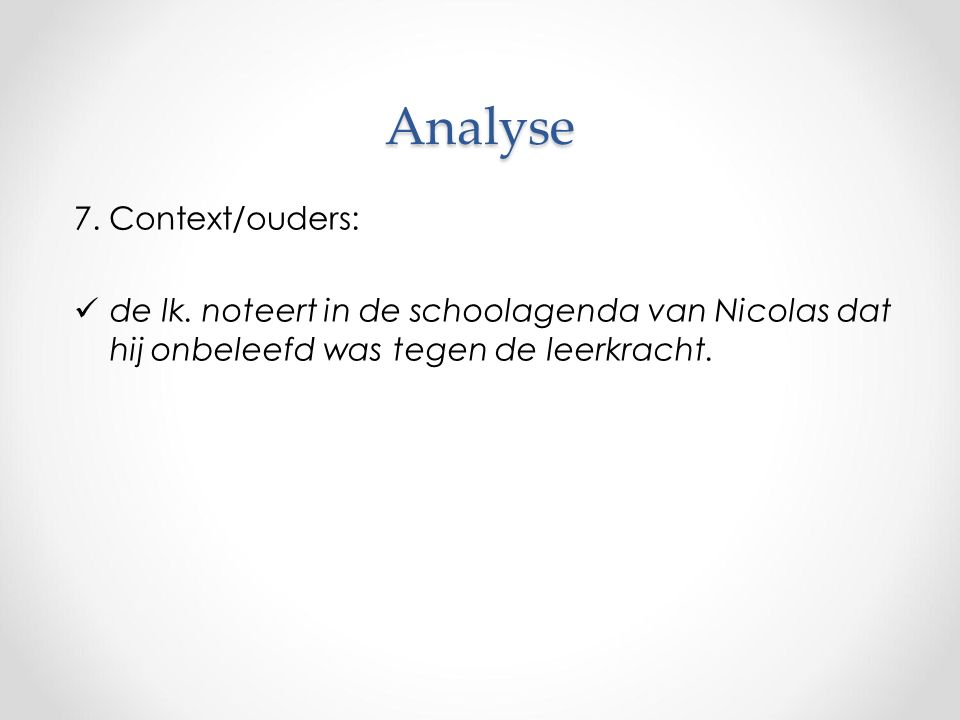 Analyse 7. Context/ouders: de lk.