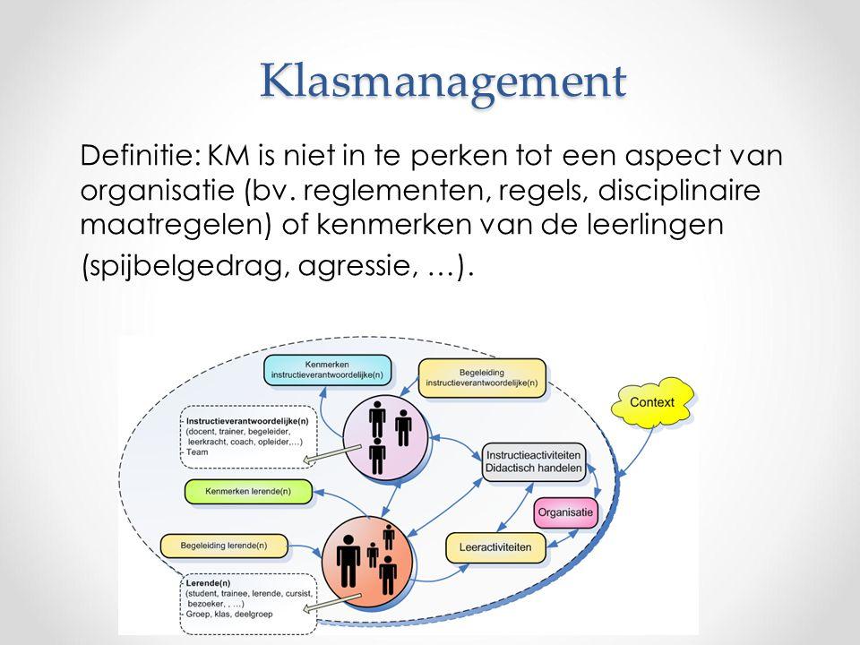 Klasmanagement Definitie: KM is niet in te perken tot een aspect van organisatie (bv.