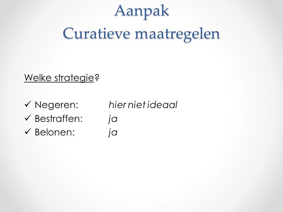 Aanpak Curatieve maatregelen Aanpak Curatieve maatregelen Welke strategie.