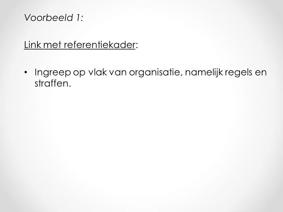 Voorbeeld 1: Link met referentiekader: Ingreep op vlak van organisatie, namelijk regels en straffen.