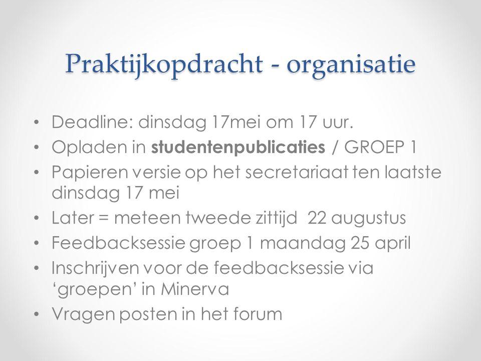 Praktijkopdracht - organisatie Deadline: dinsdag 17mei om 17 uur.