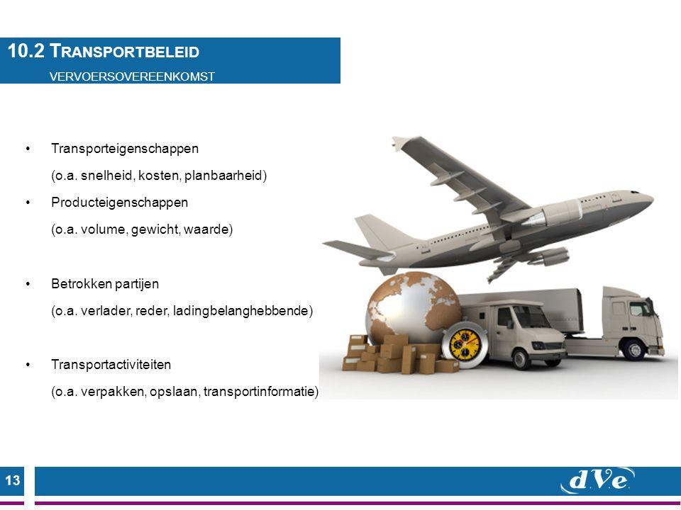 13 Transporteigenschappen (o.a.snelheid, kosten, planbaarheid) Producteigenschappen (o.a.